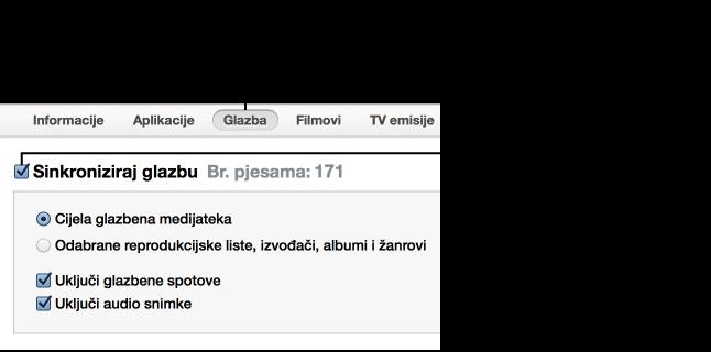 Kliknite tipku za odabir vrste sadržaja koju želite sinkronizirati, zatim označite kućicu sinkronizacije i odaberite stavke koje želite automatski sinkronizirati.
