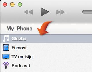 Strelica okrenuta prema kategoriji Glazba na lijevoj strani iTunes prozora