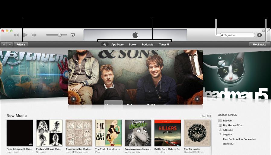Glavni prozor online trgovine iTunes store: Upotrijebite tipke za navigiranje različitim vrstama sadržaja, potražite željene stavke, kliknite tipku Medijateka za izlaz iz trgovine