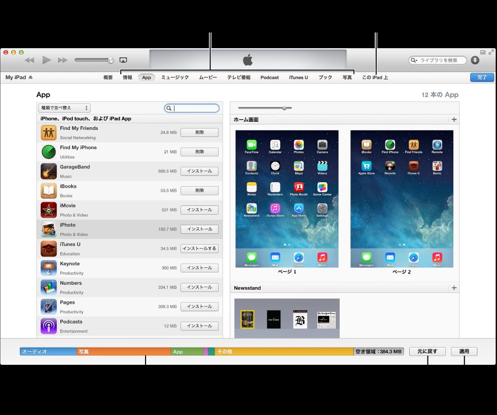 ソースリスト内のデバイス名、各種のコンテンツを同期するためのボタン、容量バー、「適用」ボタンが表示されている同期インターフェイスの図