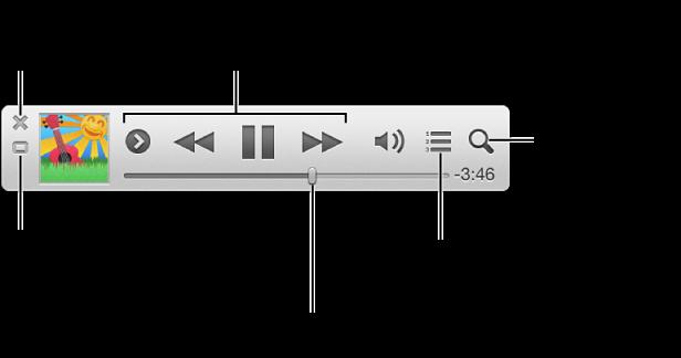 iTunes ミニプレーヤーの上にポインタを移動してコントロールを表示する: ミニプレーヤーを閉じる、「iTunes」のメインウインドウに戻る、「次はこちら」リストを表示する/編集する、ミュージックライブラリを検索する