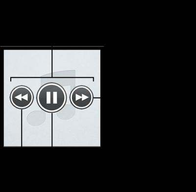 Genius Mix のコントロール: コントロールを表示するには、Genius Mix の上でポインタを動かします。 前の曲に戻ったり、現在の曲を一時停止したり、次の曲にスキップしたりできます。