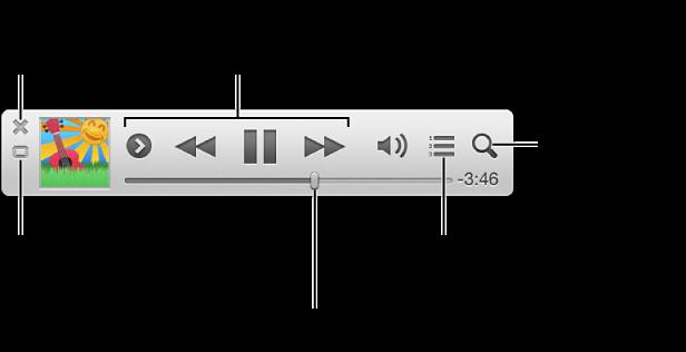 포인터를 iTunes 미니 플레이어로 이동하여 제어기 보기: 미니 플레이어를 닫고 iTunes 주 윈도우로 돌아가서 올리기 목록을 보면서 편집하고 음악 보관함을 검색합니다.