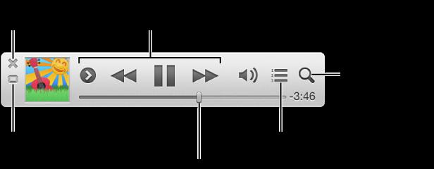 การย้ายตัวเมาส์ชี้ไปยังเครื่องเล่นขนาดจิ๋วเพื่อดูตัวควบคุม: ปิดเครื่องเล่นขนาดจิ๋ว, กลับไปสู่หน้าต่างหลัก iTunes, ดูและแก้ไขรายการต่อไปเป็น, ค้นหาคลังเพลงของคุณ