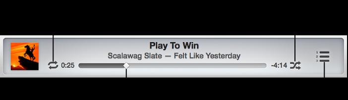"""点按""""重复""""重复歌曲、专辑或播放列表。 点按""""随机播放""""以打开或关闭随机播放。 拖移搓擦条以前往歌曲的其他部分。 点按""""接着播放""""以动态显示播放列表。"""
