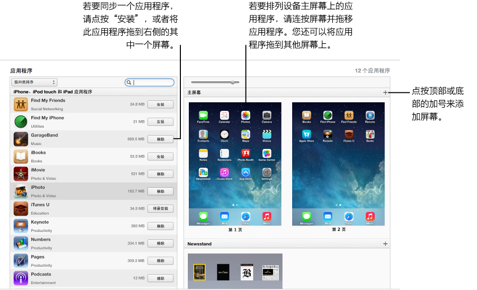 图为在 iTunes 中同步应用程序的界面