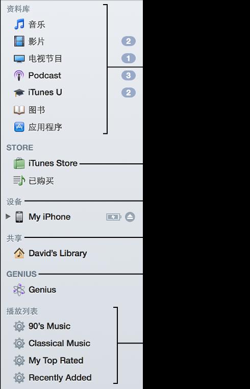 iTunes 边栏: 显示资料库、进入 iTunes Store、显示连接的设备、显示共享资料库、播放 Genius 播放列表与 Genius 混合曲目、显示播放列表和智能播放列表