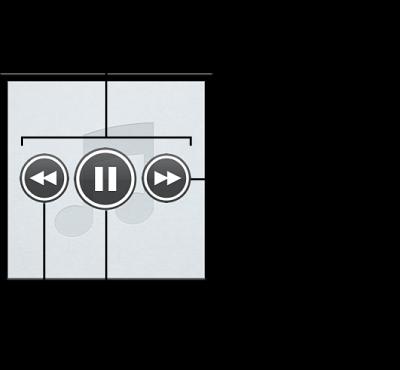 """Genius 混合曲目""控制: 若要更改控制,请将鼠标指针移到混合曲目上方。 您可以返回到上一首歌曲,暂停当前播放的歌曲或跳到下一首歌曲。"