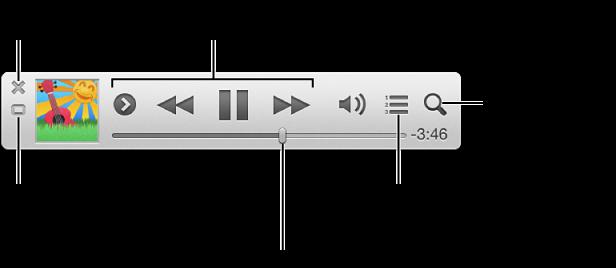 將指標移至 iTunes 迷你播放器來檢視控制項目: 關閉迷你播放器、返回 iTunes 主視窗、檢視和編輯「接著播放」列表、搜尋您的音樂資料庫