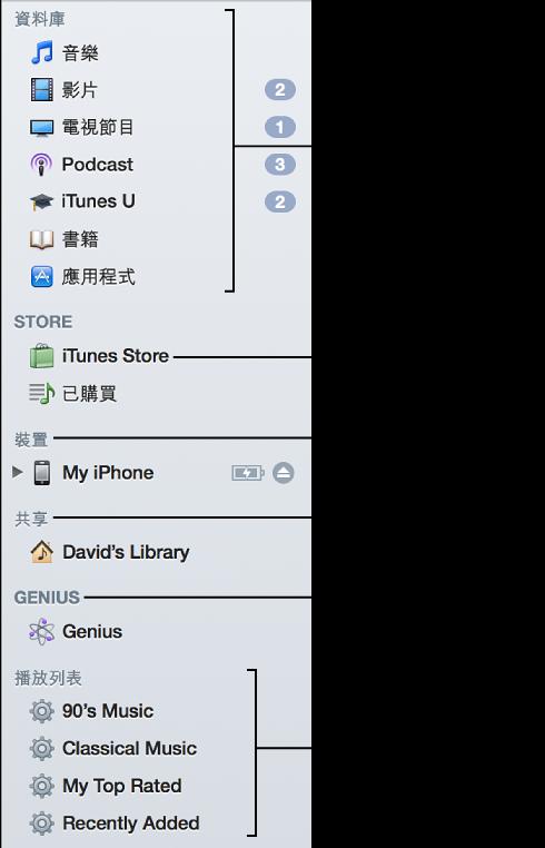 iTunes Store 側邊欄: 檢視您的資料庫、輸入 iTunes Store、檢視連接的裝置、檢視共享資料庫、播放 Genius 播放列表和「Genius 組曲」、檢視您的播放列表和「智慧型播放列表」