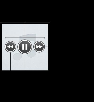 「Genius 組曲」控制項目: 若要檢視控制項目,請將指標移到組曲上。 您可以回到上一首歌曲,暫停目前播放的歌曲或略過一下首歌曲。