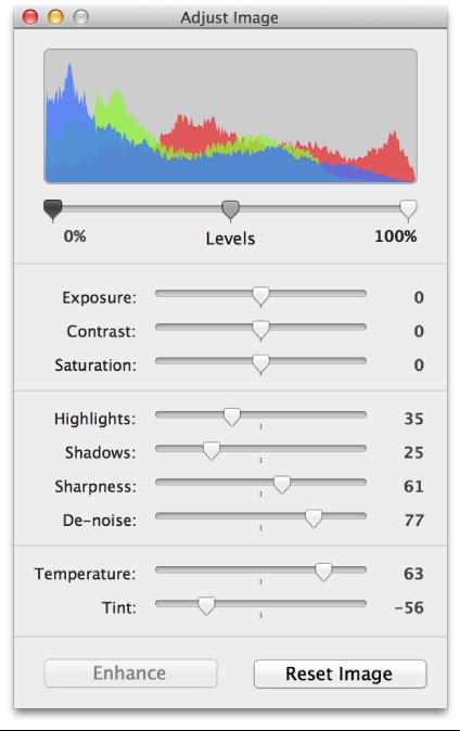 Adjust Image window showing histogram