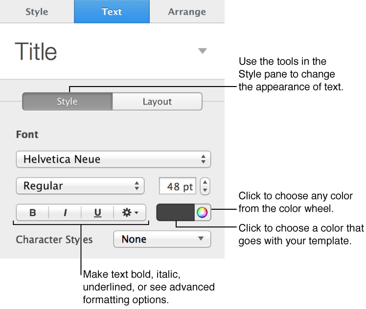 Format inspector with Style pane open, showing color controls and text formatting options.