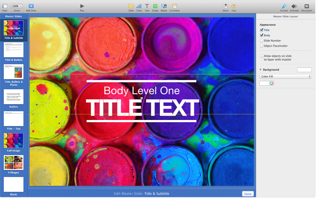 Edit master slide mode