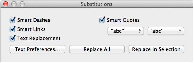 Substitutions window