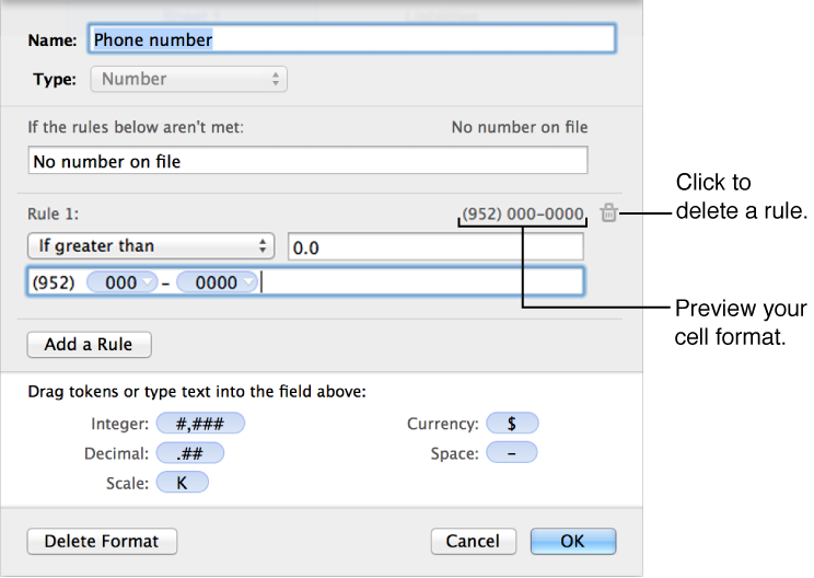 Custom number cell format with rules