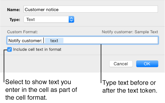 Custom text cell format
