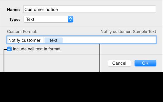 Custom text cell format