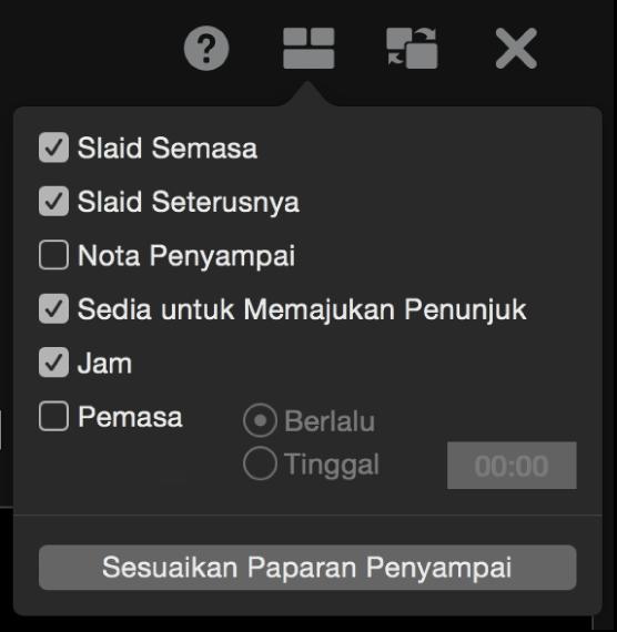Senarai pilihan paparan penyampai