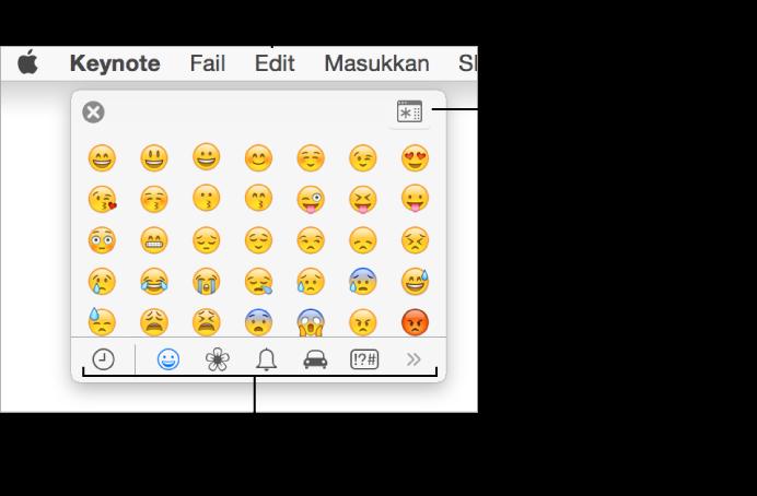 Tetingkap Aksara Khas menunjukkan emotikon, butang untuk jenis simbol berlainan di bahagian bawah dan petak bual ke butang untuk menunjukkan tetingkap Aksara penuh