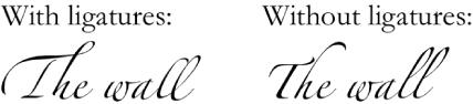 Teks dengan atau tanpa ligatur.