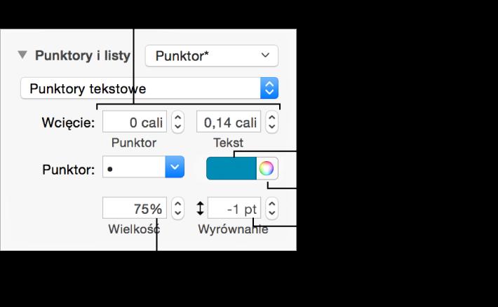 Sekcja Punktory ilisty zetykietami wskazującymi narzędzia wcięć punktorów itekstu, koloru punktora, wielkości punktora oraz wyrównywania