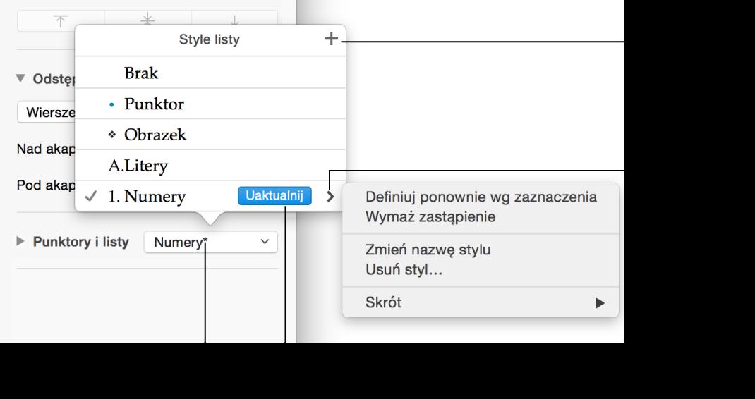Menu podręczne Style listy zgwiazdką oznaczającą zastąpienie stylu oraz objaśnieniami przycisku Nowy styl oraz podmenu zopcjami zarządzania stylami