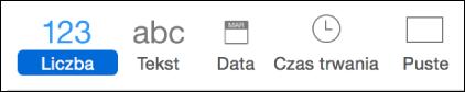 Karty reguł: Liczba, Tekst, Data, Czas trwania, Pusty.