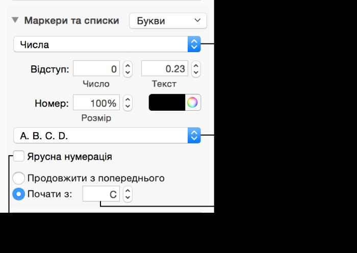 Елементи керування форматуванням чисел і літер у списках