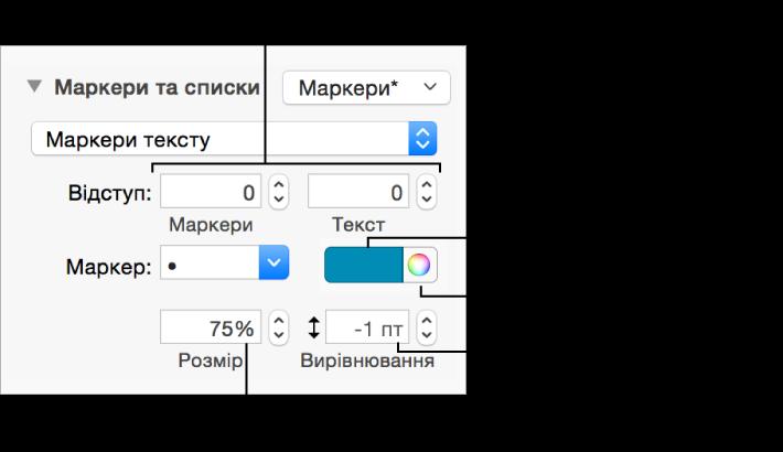 Розділ «Маркери та списки» з виносками для елементів керування відступами маркерів і тексту, кольорами й розміром маркерів, а також вирівнюванням