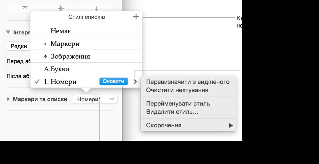 Меню стилів списків із зірочкою, яка вказує на наявність відмінностей, виноски до кнопки «Новий стиль» і підменю параметрів керування стилями