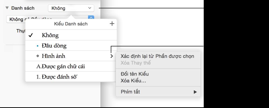 Menu bật lên Kiểu Danh sách với các menu con chứa tùy chọn cho Xác định lại từ Phần được chọn, Xóa Thay thế, Đổi tên Kiểu, Xóa Kiểu và Phím tắt