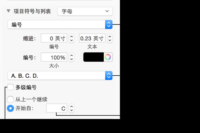 格式化列表中的数字和字母的控制
