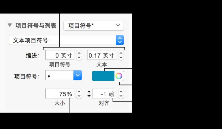"""带有项目符号和文本缩进、项目符号颜色、项目符号大小和对齐方式的控制矩形标注的""""项目符号与列表""""部分"""