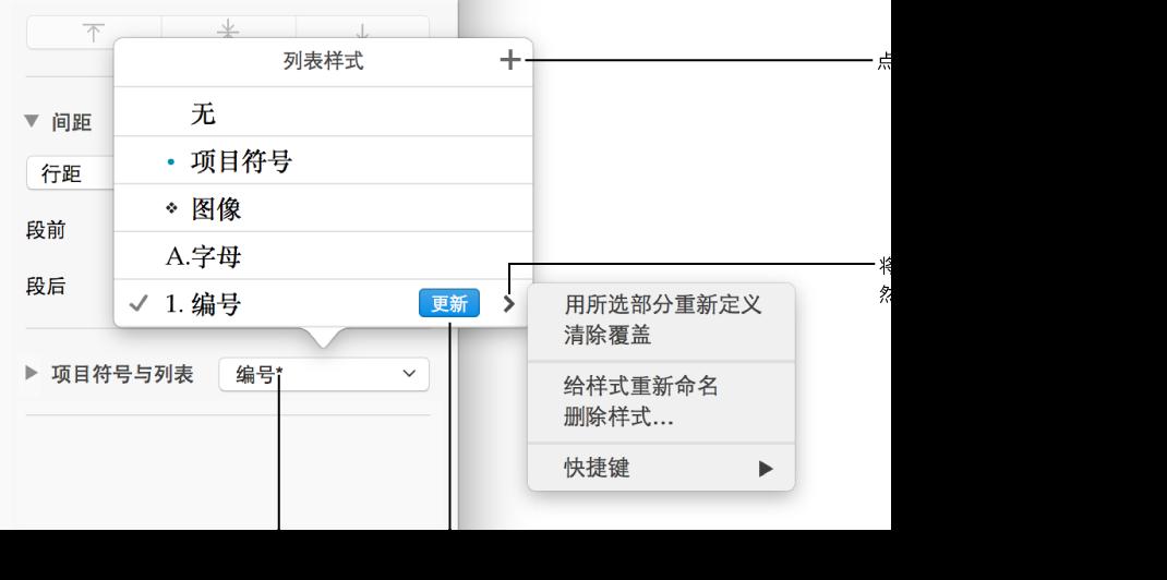"""""""列表样式""""弹出式菜单,其中显示表示覆盖的星号、""""新样式""""按钮的标注以及用于管理样式的选项的子菜单"""