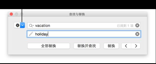 """带有可显示更多选项的矩形标注按钮的""""查找与替换""""窗口"""
