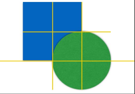 兩個物件上的黃色對齊參考線