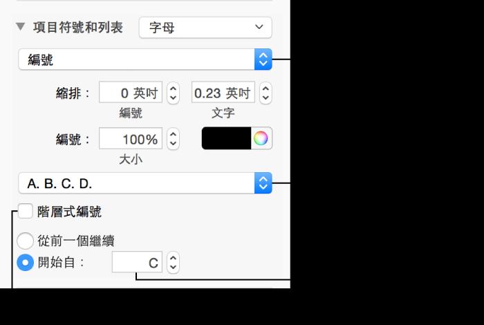 用於格式化列表中數字和字母的控制項目