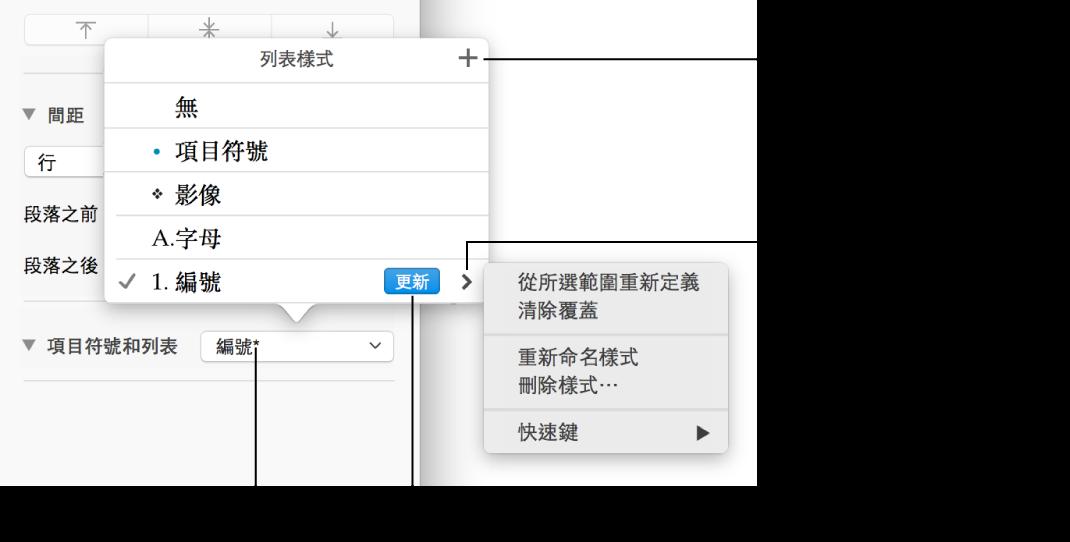 「列表樣式」彈出式選單,顯示代表覆蓋的星號,以及指向「新增樣式」按鈕的說明框,還有管理樣式的選項子選單
