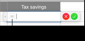 在輸入格中輸入等號來開啟公式編輯器。