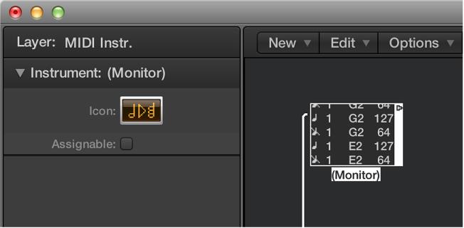 Abbildung. Environment-Fenster mit Anzeige eines Monitor-Objekts und des zugehörigen Informationsfensters.