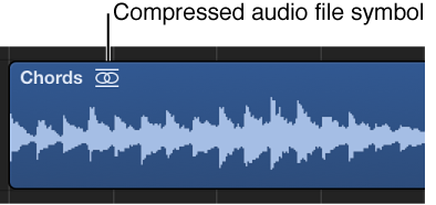 Figure. Audio region showing compressed audio file symbol to the right of the region name.