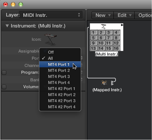 Figure. Port pop-up menu in the Object inspector showing MIDI output options.