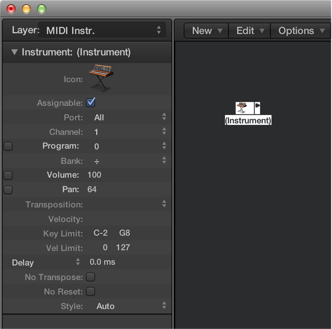 Figure. Environment window showing a standard instrument object and its inspector.