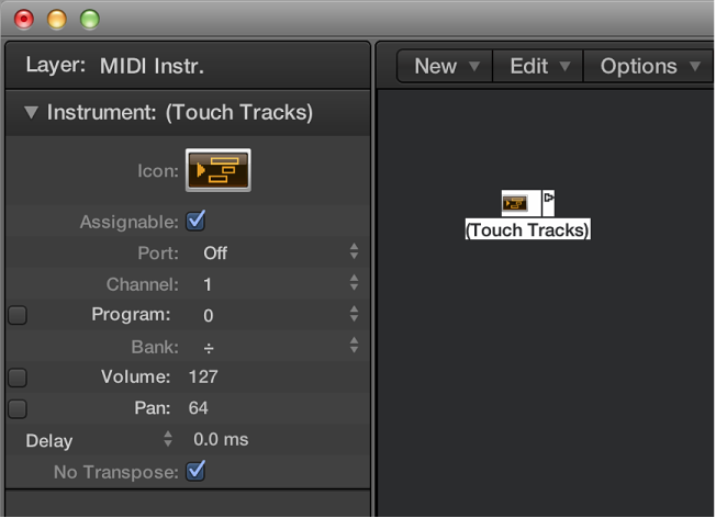 Figure. Environment window showing a touch tracks object and its inspector.