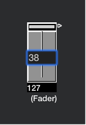 Figure. Showing how to input a number on a fader object.