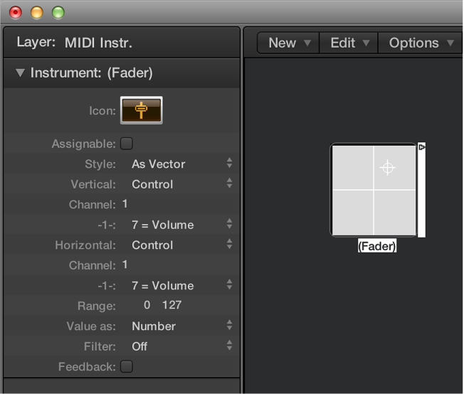 Figure. Environment window showing a vector fader object and its inspector.