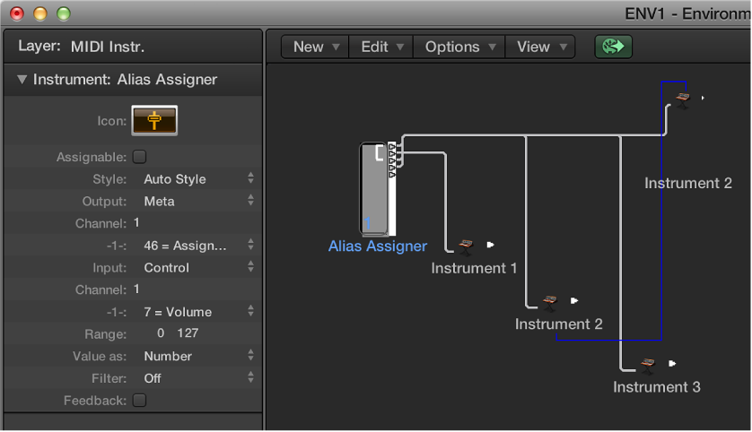 Figure. Environment window showing an alias assigner object and its inspector.