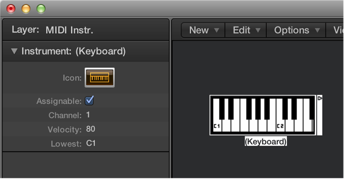 Figure. Environment window showing a keyboard object and its inspector.