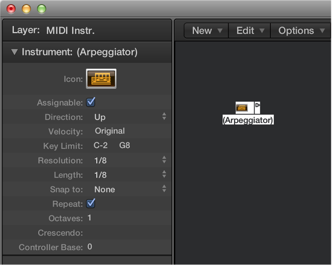 Figure. Environment window showing an arpeggiator object and its inspector.